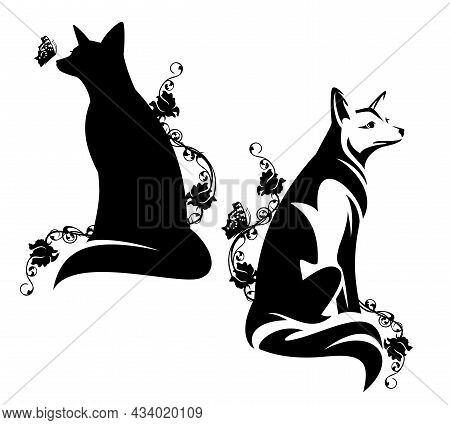 Beautiful Sitting Fox Among Blooming Rose Flowers And Butterflies Black And White Vector Outine And