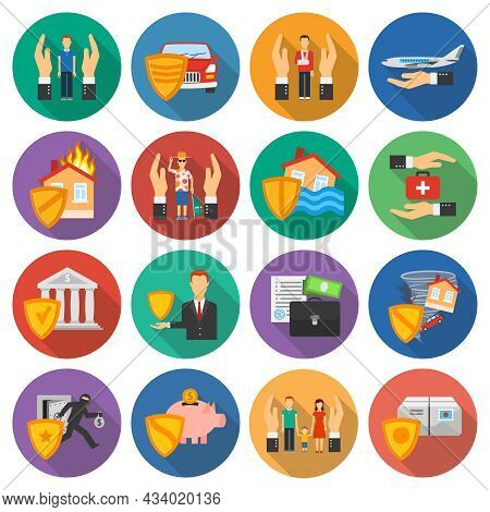 Insurance And Risk Cases Icons Set Flat Shadow Round On White Background Flat Isolated Vector Illust