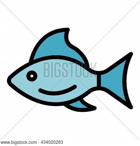 Sick Fish Icon. Outline Sick Fish Vector Icon Color Flat Isolated