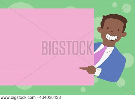 Happy Man In Suit Drawing Standing Holding Pointing Blank Paper Board Showing New Message. Joyful Bu