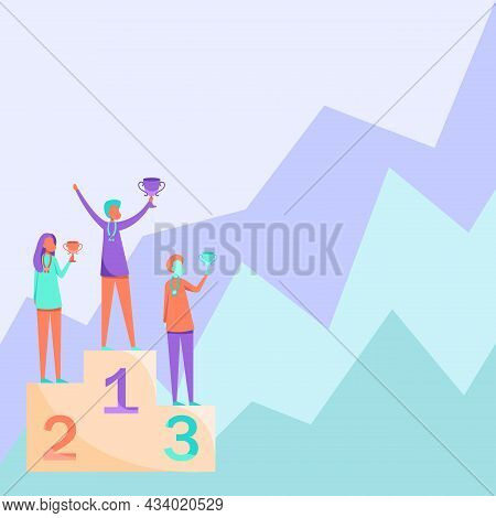 Three Competitors Drawing Standing On Podium Holding Trophies Celebrating Victory. Contestants Drawi