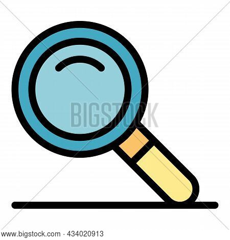 Magnifier Icon. Outline Magnifier Vector Icon Color Flat Isolated