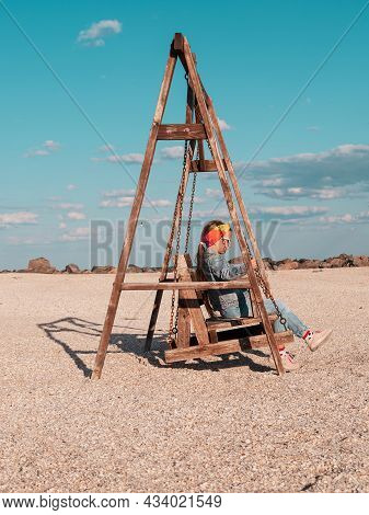 Little Girl Chilling Resting In Beach Chair Happy Child Smiling Relaxing Enjoying Life Sun Fresh Air