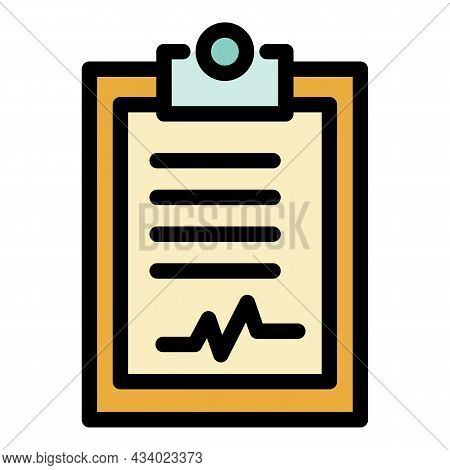 Healthy Clipboard Icon. Outline Healthy Clipboard Vector Icon Color Flat Isolated