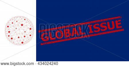 Mesh Circle Polygonal Icon Vector Illustration, And Red Global Issue Dirty Stamp Seal. Model Is Crea