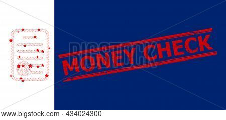 Mesh Price List Polygonal Icon Vector Illustration, And Red Money Check Scratched Rubber Print. Mode