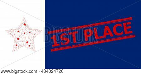 Mesh Star Polygonal Icon Vector Illustration, And Red 1st Place Textured Badge. Carcass Model Is Bas