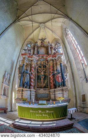 Richis,romania-sept. 3, 2021:interior Of The Fortified Evangelical Lutheran Church,built In The Seco
