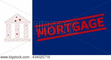 Mesh Library Building Polygonal Symbol Vector Illustration, And Red Mortgage Corroded Watermark. Mod