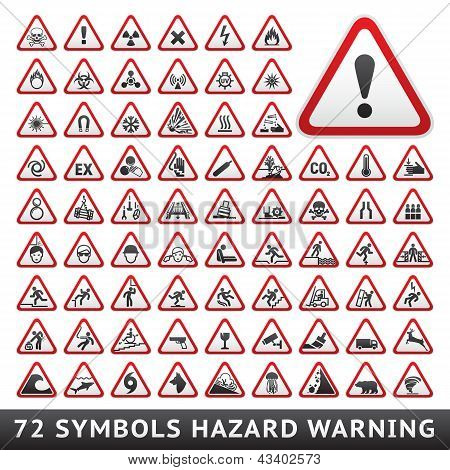 Triangular Warning Hazard Symbols. Big red set