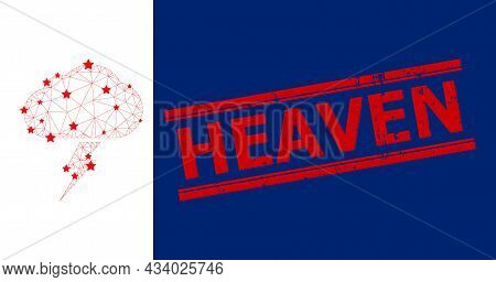 Mesh Thunderstorm Polygonal Icon Vector Illustration, And Red Heaven Rubber Seal. Model Is Created F