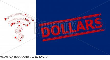 Mesh Dollar Emission Polygonal Icon Vector Illustration, And Red Dollars Scratched Stamp Seal. Carca
