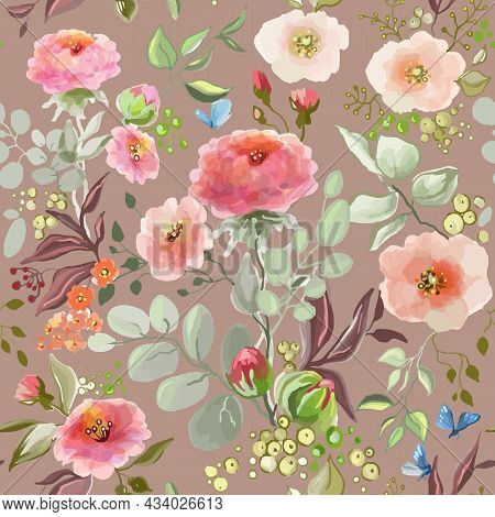 Seamless Watercolor Pattern With Pink Peonies And Roses On A Pastel Pink Background, Vector Illustra