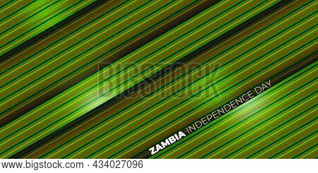 Red, Black, And Yellow Line On Green Background. Zambia Independence Day Background Design. Good Tem