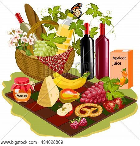 Wicker Basket With Food And Drinks.family Picnic Or Romantic Dinner. Vector Illustration With A Wick
