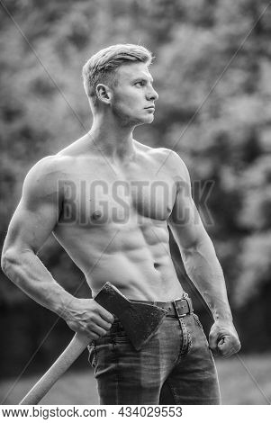 Muscular Body. Surviving In Wild Nature. Brutality Is Sexy. Strength And Power Concept. Sexy Macho B