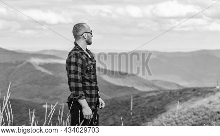 Day Dreamer. Man On Mountain Landscape. Camping And Hiking. Cowboy In Hat Outdoor. Sexy Macho Man In
