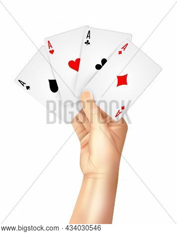 Gambling Entertainment Business Decorative Poster Print With High Hand Holding Four Playing Cards Ac