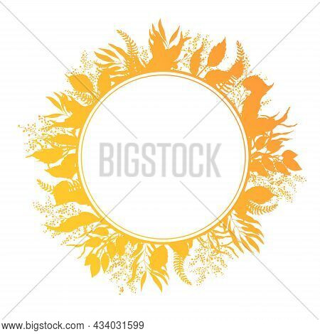 Traditional Autumn Wreath Of Yellow Fallen Leaves. Round Floral Gradient Frame For Greeting Cards. T