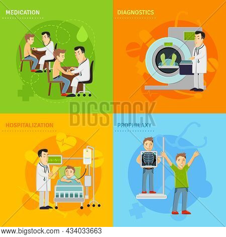 Hospital Treatment Design Concept Set With Prophylaxy Diagnostics Medication Hospitalization Flat Ic