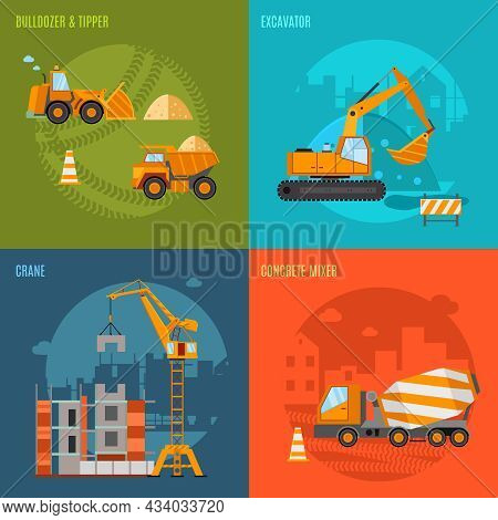 Construction Machines Design Concept Set With Bulldozer Tipper Excavator And Concrete Mixer Flat Ico