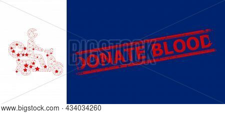 Mesh Doctor Motorbike Polygonal Icon Vector Illustration, And Red Donate Blood Scratched Stamp Seal.