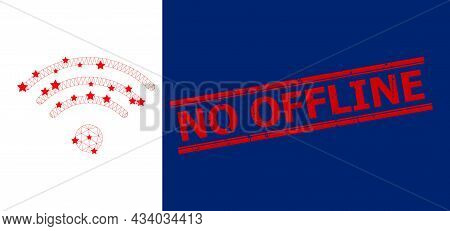 Mesh Wi-fi Source Polygonal Icon Vector Illustration, And Red No Offline Unclean Seal. Carcass Model
