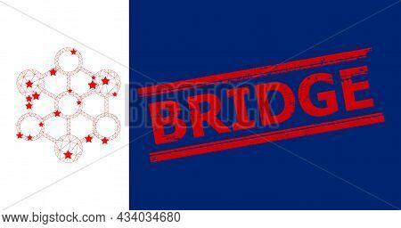 Mesh Blockchain Polygonal 2d Vector Illustration, And Red Bridge Textured Stamp Imitation. Carcass M