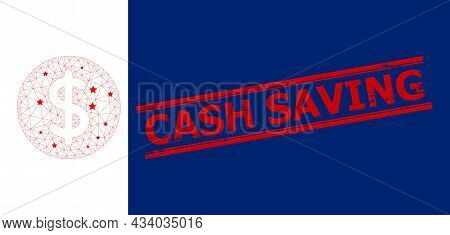 Mesh Dollar Price Polygonal Icon Vector Illustration, And Red Cash Saving Scratched Rubber Print. Mo