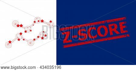 Mesh Charts Polygonal Icon Vector Illustration, And Red Z-score Dirty Stamp. Carcass Model Is Create