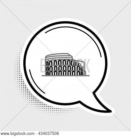 Line Coliseum In Rome, Italy Icon Isolated On Grey Background. Colosseum Sign. Symbol Of Ancient Rom