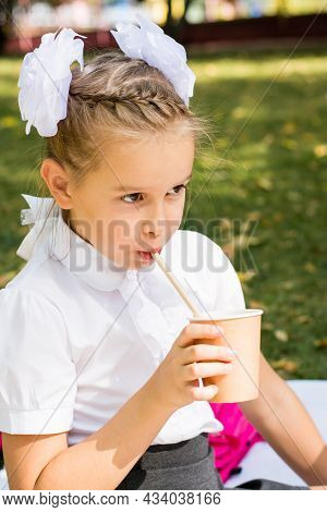 Cute Little Schoolgirl Drinks Apple Juice From An Eco Cup With A Straw At A Picnic In The Park. Eco-