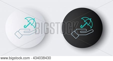 Line Umbrella In Hand Icon Isolated On Grey Background. Insurance Concept. Waterproof Icon. Protecti