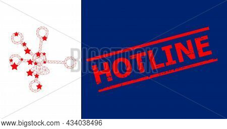 Mesh Call Center Links Polygonal Icon Vector Illustration, And Red Hotline Corroded Seal. Carcass Mo