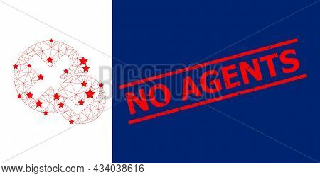 Mesh True Negative Polygonal Icon Vector Illustration, And Red No Agents Textured Badge. Model Is Ba