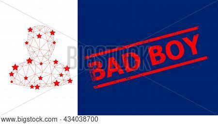 Mesh Person Profile Polygonal 2d Vector Illustration, And Red Bad Boy Textured Badge. Carcass Model