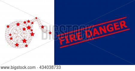 Mesh Time Bomb Polygonal Icon Vector Illustration, And Red Fire Danger Rubber Watermark. Carcass Mod