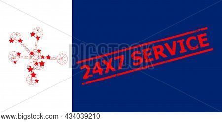 Mesh Operator Relations Polygonal Icon Vector Illustration, And Red 24x7 Service Rough Seal. Carcass
