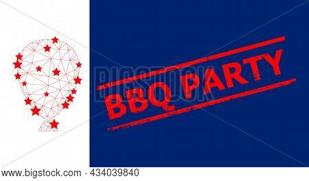 Mesh Celebration Balloon Polygonal Symbol Vector Illustration, And Red Bbq Party Dirty Badge. Model