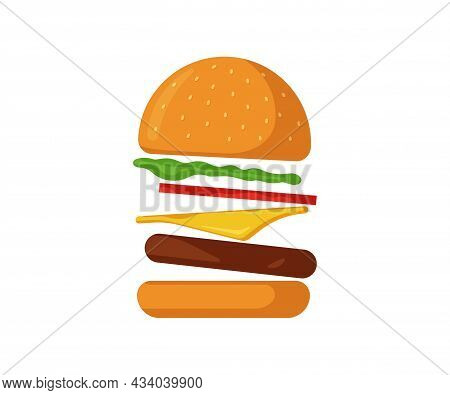 Flying Burger Fast Food Isolated Icon. Scattered Hamburger With Tomato, Bow, Greens, Juicy Fried Bee