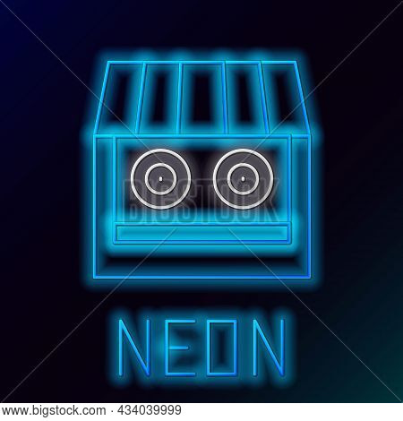 Glowing Neon Line Shooting Gallery Icon Isolated On Black Background. Shooting Range. Colorful Outli