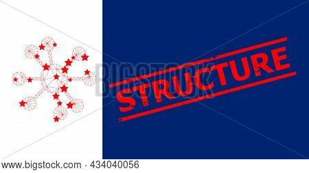 Mesh Node Relations Polygonal 2d Vector Illustration, And Red Structure Scratched Seal. Carcass Mode