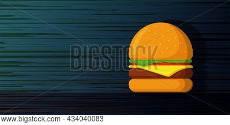 Burger Fast Food Advertising Banner Blank Template. Hamburger On Wooden Board Marketing Blue Poster