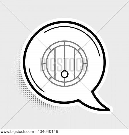 Line Wooden Barrel Icon Isolated On Grey Background. Alcohol Barrel, Drink Container, Wooden Keg For