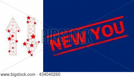 Mesh Vertical Exchange Arrows Polygonal Icon Vector Illustration, And Red New You Rubber Stamp Print