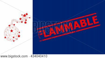 Mesh Bomb Ignition Polygonal Symbol Vector Illustration, And Red Flammable Rubber Stamp. Carcass Mod