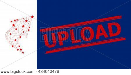 Mesh Upload Arrow Polygonal Icon Vector Illustration, And Red Upload Scratched Watermark. Carcass Mo