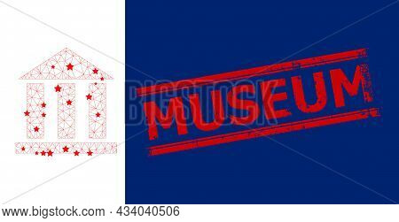 Mesh Library Office Polygonal Icon Vector Illustration, And Red Museum Dirty Stamp. Carcass Model Is