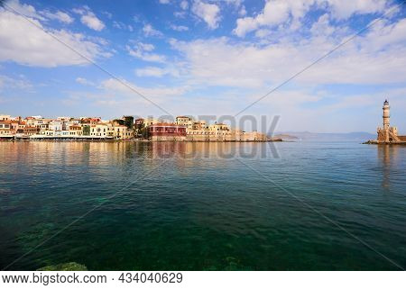 Chania, The Crete Island, Greece - May, 19, 2018: Chania Picturesque Harbour At The Spring Time