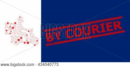 Mesh Pizza Motorbike Delivery Polygonal Icon Vector Illustration, And Red By Courier Scratched Stamp